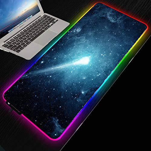 Alfombrilla de ratón RGB para Juegos,retroiluminación LED,Alfombrilla de ratón XXL Brillante para PC,Teclado de Ordenador portátil,Negro,Azul,Cielo Estrellado,cometa-900×400 MM