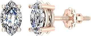 14K Gold Diamond Stud Earrings Marquise Cut Earth-mined (I,I1)