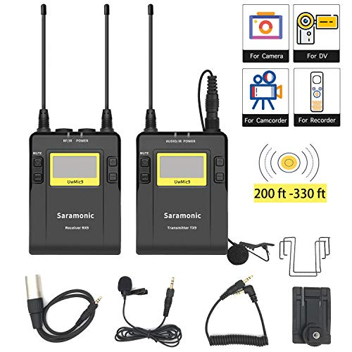 96-Channel UHF Wireless Lavalier Microphone for Camera Video News Live, Saramonic Wireless Lapel Mic System for Interview Canon Nikon D3300 Pentax Sony A9 RX0 DSLR & Camcorders Vlog YouTube Podcast