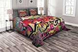 Lunarable Brick Wall Bedspread, Graffiti on Urban Street Art Stones Spray Paint Look Tagger Underground Themed Print, Decorative Quilted 3 Piece Coverlet Set with 2 Pillow Shams, Queen Size, Soft Red