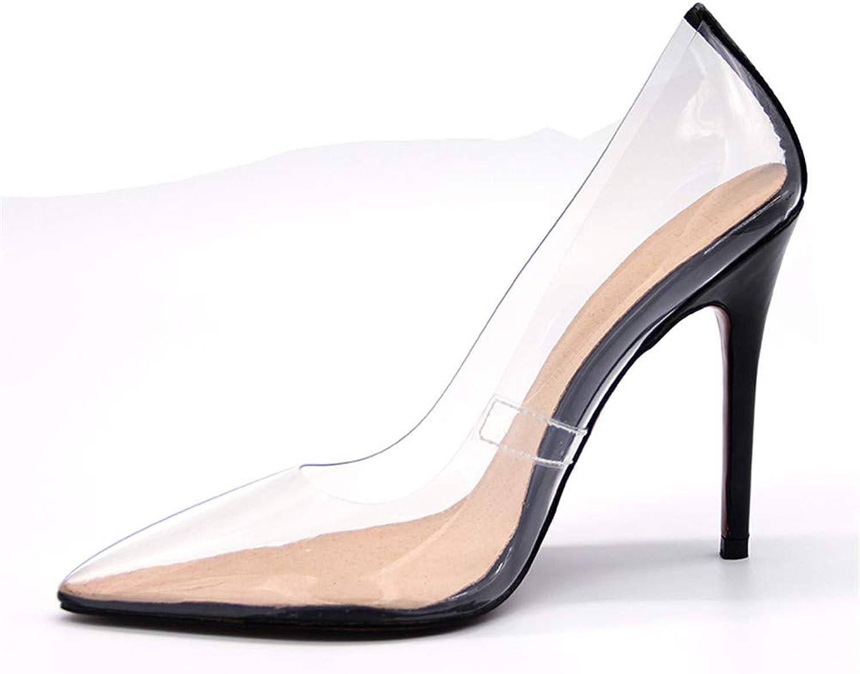 XDLEX Women Transparent Pointed Toe Pump Slip On Stiletto High Heels shoes