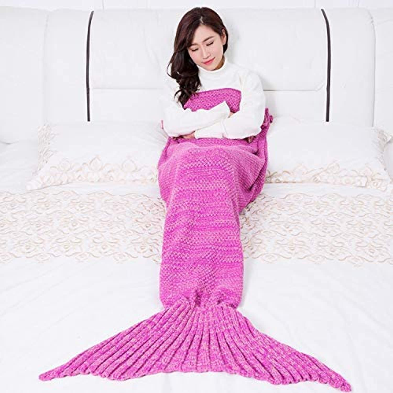 JINGB Home Mermaid Knitted Mermaid Tail, pink Red, 195  95CM (76.8  37.4 inch)
