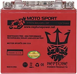 YTX14-BS 12V 14Ah High Performance GEL Motorcycle Battery by Neptune