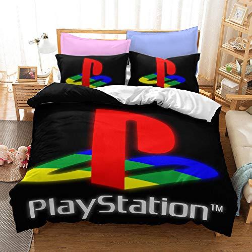 Playstation 3D Hoja de Cama Impresa 3 Piezas de Colcha de 3 Piezas más Funda de almohada-03_135 * 200 cm