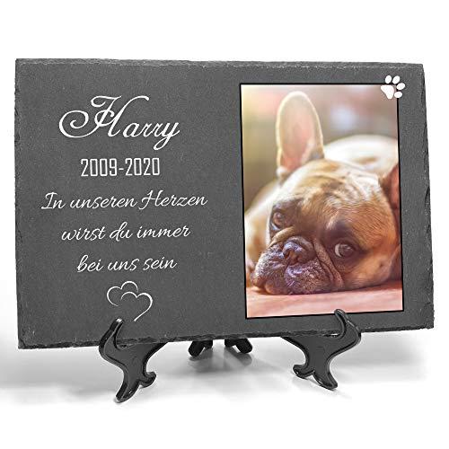 TULLUN Individueller Personalisiert Tiergrabstein Schiefer Gedenkstein + Ständer für Hund, Katze und andere Haustiere - Größe 20 x 30 cm - Personalisiert Text und Foto V2