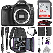 Canon EOS 80D DSLR Camera Body w/Advanced Photo & Travel Bundle - Includes: Altura Photo Backpack, SanDisk 64gb SD Card, Monopod, Neck Strap and Cleaning Kit