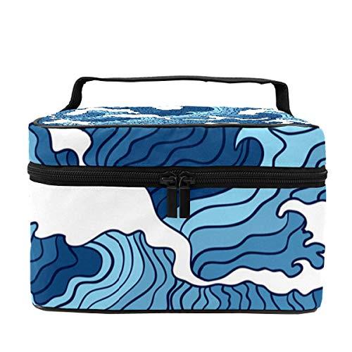 Trousse de maquillage pour femme - Multifonction - Sac de rangement portable - Pour pinceaux de toilette, bijoux abstraites - Imprimé bleu