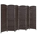 Best Choice Products 6ft Tall Freestanding Room Divider, 6-Panel Diamond Weave Wooden Folding Privacy Screen for Living Room, Bedroom, Apartment w/Two-Way Hinges - Dark Mocha