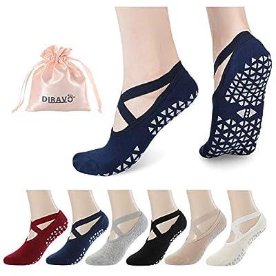 Diravo Yoga Socks for Women Non-Slip Grips Anti-Skid Pilates, Barre, Bikram Fitness Socks Size 5-10