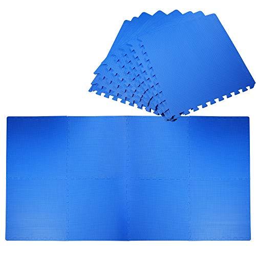 HOMCOM Alfombra Puzzle para Niños 8 Piezas Alfombrillas de Juego Espuma EVA con Área de Cobertura 2,88 m² No Tóxica 60x60x1,2 cm Azul