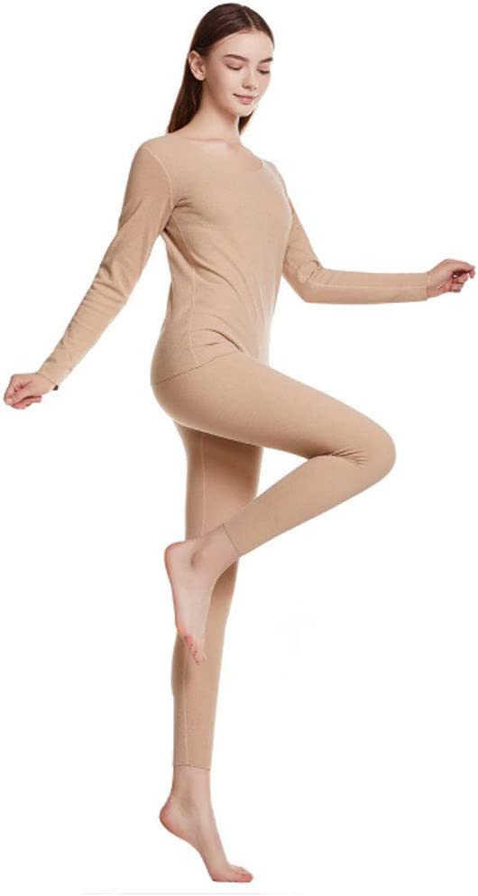 ZXYWW Without A Trace Thermal Underwear Long Johns Set for Women, Ultra Soft Top & Bottom Base Layer Clothes,Flesh,XXXL