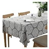 meioro Grey Retro Tischdecke Rechteckige Tischdecken Baumwolle Leinen Tischtuch Geeignet für Home Küche Dekoration Tischtuch Tischwäsche, Verschiedene Größen(140 x 300 cm)