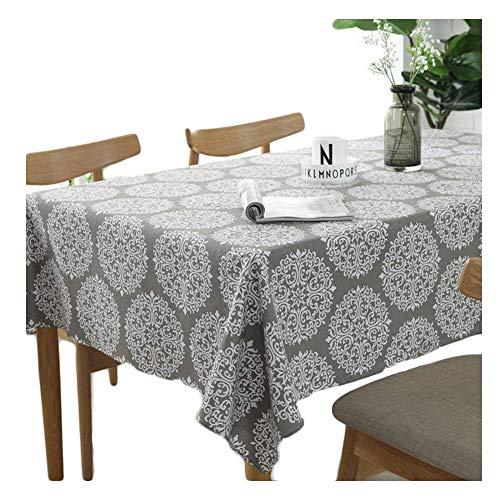 meioro Grey Retro Tischdecke Rechteckige Tischdecke Baumwolle Leinen Tischwäsche Geeignet für Home Küche Dekoration(140x180cm)