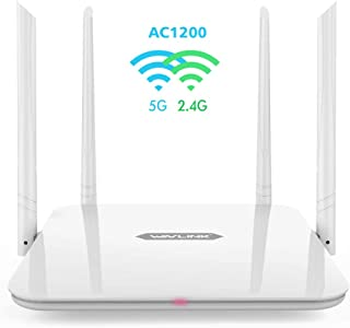 WiFi Router,WAVLINK 1200Mbps WiFi Router,High Power Wireless Wi-Fi Router,Gigabit Dual Band Computer Router 5Ghz+2.4Ghz with 2 x 2 MIMO 5dBi Antennas Internet Router for Online Game&HD Video