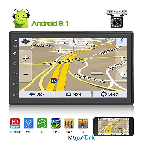 Double Din Android 9.1 Car Stereo Radio 7'' TFT Touch Screen Digital Multimedia Player GPS Navigation in Dash Head Unit Support Bluetooth WiFi USB FM Radio Receiver +Backup Camera In-Dash Navigation