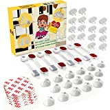 Complete Baby Proofing Kit - 16 Outlet Covers, 16 Clear Corner Protectors, 8 Cabinet Safety Locks & 24 Pieces 3M Adhesive Tape - Easy Install Child Proof Set