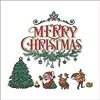 Zxyan ウォールステッカー インテリアウォールステッカークリスマスデコレーションウォールステッカー、サンタのクリスマスツリーのリビングルームテレビ背景ウォールデコレーションウォールステッカー インテリア 装饰壁画 おしゃれ