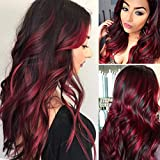 Sallcks Brown and Red Wig Long Curly Wavy Layered Middle Part Synthetic Cosplay Costume Wigs for Women Girls