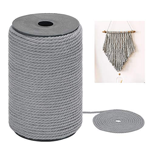 Macrame Cord 4mm x 109Yards, Colored Natural Cotton Macrame Rope - 3 Strands Twisted Macrame Cotton Cord for Wall Hanging, Plant Hangers, Crafts, Gift Wrapping and Wedding Decorations, Gray