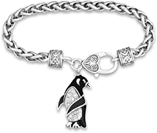 Penguin Charm Bracelet is Embellished with Clear Crystal Rhinestones.Great Gift for a Pittsburgh Penguins Fan