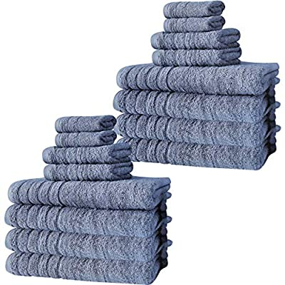 Classic Turkish Towels 16 Piece Bath Towel Set - Soft and Plush Bathroom Towels Made with 100% Turkish Cotton (Blue)