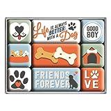 Nostalgic-Art Juego de Imanes Retro Friends – Idea de Regalo para dueños de Perros, Decoración para la Nevera, Diseño Vintage, 9 Unidades