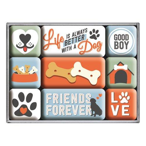 Nostalgic-Art 83100, Everthing is better, Magnet-Set (9teilig) PfotenSchild Friends – Geschenk-Idee für Hunde-Besitzer, Magnetset für Magnettafel, 9 Stück
