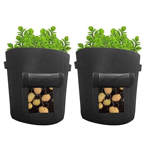 CHEYLIZI 2 Stück 43L Kartoffel Pflanzsack 35cm x 45cm Pflanztasche aus Filz Pflanze Wachsende Tasche mit Griffe für Kartoffeln, Tomaten und Erdbeeren Schwarz