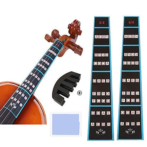 2 Sheets Violin Finger Guide and Rubber Mute Pack, 4/4 Violin Notes Sticker Full Size Guide, Violin Label Chart Plus Rubber Mute,User Guide ,Perfect for the Beginners