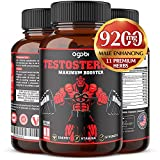 Natural Testosterone Booster for Men 9200mg with Ashwagandha, Tribulus Terrestris, Panax Ginseng and Others for Estrogen Blocker, Male Enhancing, Endurance, and Strength-Gluten 60 Capsules