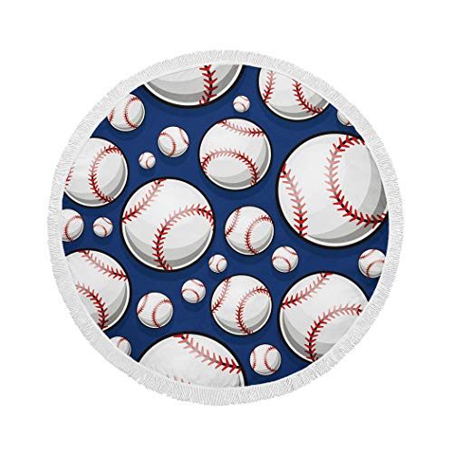 MQPPE Blue Round Beach Towel, Baseball Softball Ball American Large Circle Beach Towel with Tassels, Beach Blanket Sand Proof Oversized Yoga Mat Towel, 59 Inches