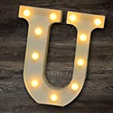 YOEEN LED Marquee Letter Lights Sign Light Up Letters Battery Powered Alphabet Letters for Wedding Birthday Party Christmas Night Light Home Bar Decoration (U)