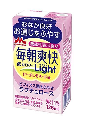 森永 毎朝爽快Light ピーチレモネード味 125ml [ ミルクオリゴ糖 ラクチュロース 低カロリー ] 機能性表示食品 ×24本