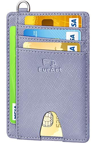 FurArt Portefeuille Minimaliste Fin, Porte-Cartes de Crédit avec Blocage Anti RFID, Les Femmes Hommes, Démontage Manille en D,Bleu canel Saffiano