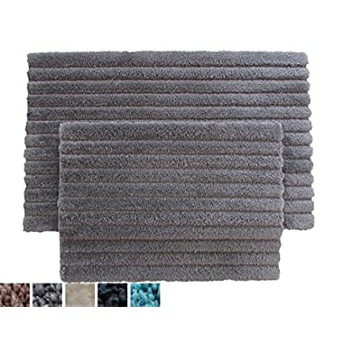 Super Soft 100% Microfiber Set of 2 Bathmats (Charcoal) with Anti-Skid Bottom, Quick Dry, Non-Slip Bathroom Rugs Ribbed Design for Extra Absorbency, Spa Living by AAR