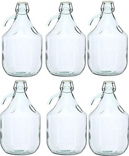 Unbekannt 6 STÜCK 5L Gärballon mit BÜGELVERSCHLUSS Flasche Glasballon Weinballon Bügelflasche Glasflasche
