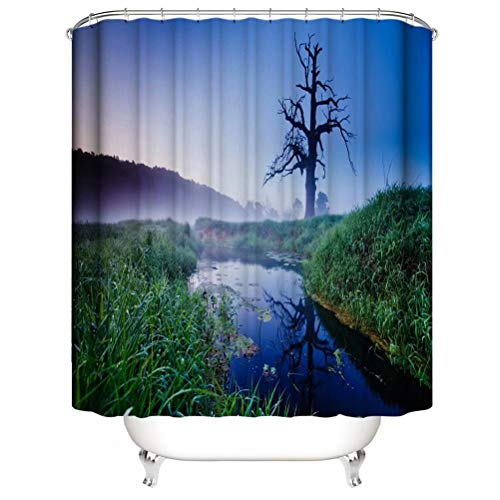 River. Shower Curtain. Bathroom Accessories. Waterproof. Contains 12 Hooks. Shower Curtain Rod Ring Hook. Background. Party. Living Room.