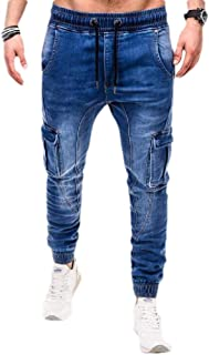 YYG Men Elastic Waist Casual Sport Multi Pockets Jeans Drawstring Jogger Jeans Pants