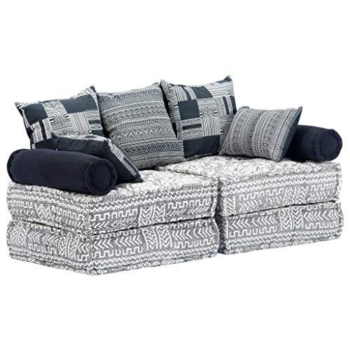Slaapbank tweezits modulair stof grijs