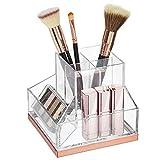 mDesign Organizador de maquillaje – Soporte para maquillaje con 6 casillas para pintalabios, rímel, etc. – Organizador de cosméticos de plástico para el lavabo o tocador – transparente y dorado rosado