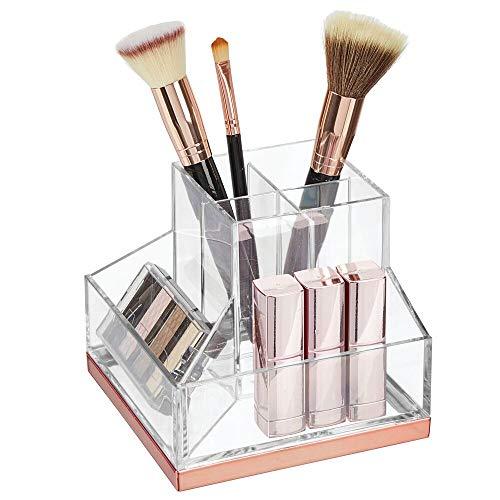 mDesign Stehsammler für Schminke – Make-up Organizer mit 6 Fächern für Lippenstift, Mascara etc. – Schminkaufbewahrung aus Kunstoff für Wasch- und Schminktisch – durchsichtig und rosegoldfarben