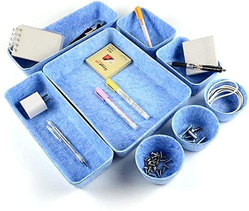 Cajones Organizadores Escritorio, Juego de 8 Organizador Cajones Escritorio, Bandejas de Cajónes Cosméticos Versátiles para Mesa Escritorio Desmontable Bandeja de Almacenaje (azul)