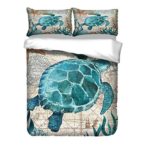 Bedding Set Blue 3D Ocean Theme Marine Life Pattern Turtle Seahorse Dolphin Whale Octopus Squid Printing Bedroom Duvet Cover and Pillowcase Set Suitable for Student Teens