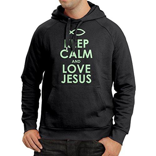Sudadera con Capucha Amo a Jesucristo, Religión Cristiana - Pascua, Resurrección, Natividad, Ideas de Regalo Religioso (Medium Negro Fluorescente)