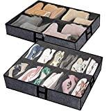 Under The Bed Shoe Organizer Fits 12 Pairs and 4 Pairs Boots,Sturdy & Breathable Materials,Underbed Storage Solution for Kids Men & Women Shoes,Great Space Saver for Your Closet Set of 2