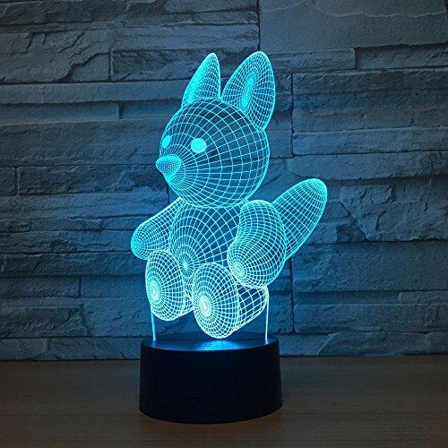 3D Kreatives Eichhörnchen Illusion Lampe Led Nachtlicht 7 Farbwechsel Touch Sensor Schreibtisch Tischlampe Mit Usb Kabel Dekoration Für Kinderzimmer Schlafzimmer,Kinder Geburtstag Geschenk