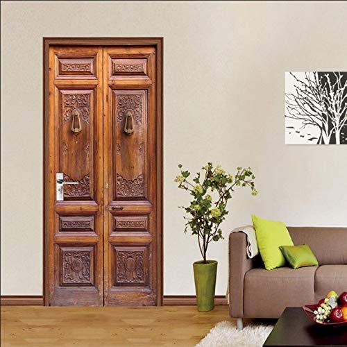 RGAHOT Murales Para Puertas 3D Autoadhesivo Puerta de madera vintage rojo vino Vinilo para Decorativas Puertas Mural salón dormitorio Pegatinas de Pared Foto Impermeable Pegatinas de Puerta 77 x 200cm