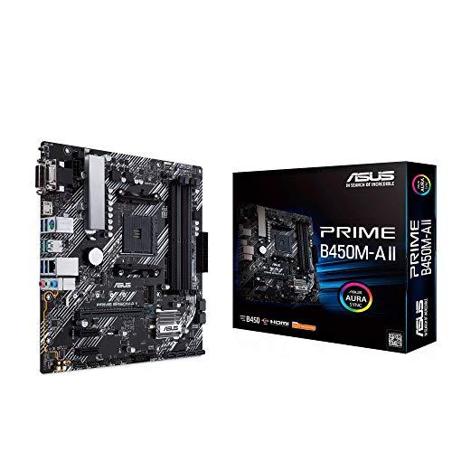 Asus Prime B450M-A II Mainboard Sockel AM4 (mATX, AMD Ryzen, DDR4-Speicher, M.2, SATA 6Gbit/s, USB 3.1 Gen 2 Typ-A. Aura Sync)