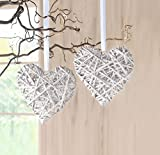 hanging decorations 2 White Hearts Rattan by Frank