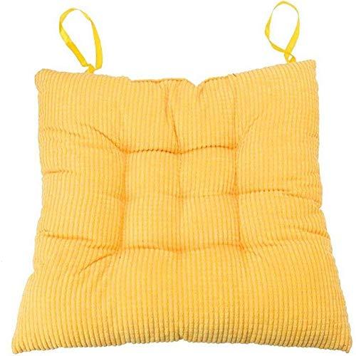 L.TSN Cuscino per Sedia Cuscino per Sedile in Vimini Cuscino per Seduta Imbottito in Morbido Velluto a Coste per Esterni Cuscino per sedie da Cucina Cuscino per Patio Tinta Unita, 40X40 cm, Giallo